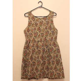 Floral Tapestry Sleeveless Dress (Size L)
