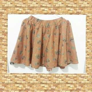Brown Flower Skirt EW-010