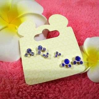 Olando Disney World藍色水鑽耳環組