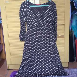 Brown Midi Polkadot Dress