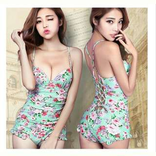 👙韓版 三色 性感鏤空 復古印花 遮肚顯瘦 集中 連身+裙子 比基尼 兩件式