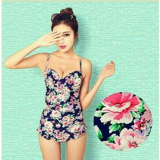 👙韓版 三色 性感鏤空 復古印花 遮肚顯瘦 集中 比基尼  連身款+裙子 泳衣