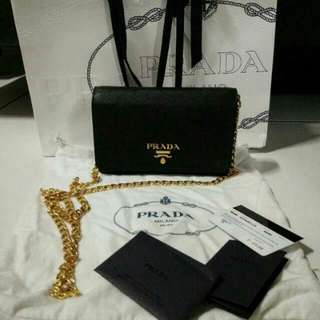 *INSTOCK* 100% Authentic Prada WOC Saffiano Leather With Gold Chain