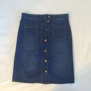 Repriced!! - Dotti Button Up Denim Skirt