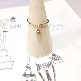 出清單品 小墬 戒指 💍 歐美 簍空 圓球 圓形 吊飾 麻花 金色
