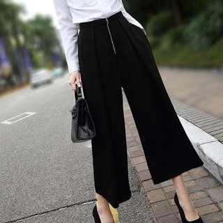 黑色闊腿褲(顯瘦)