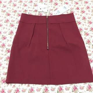 Maroon Zipper Skirt