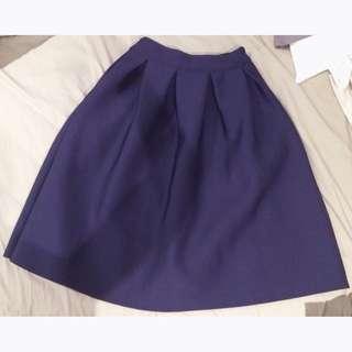 Thick Pleated Midi Flare Skirt