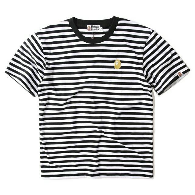 日系潮牌23年紀念款夏季條紋金線繡花簡約圓領短袖T卹 男裝