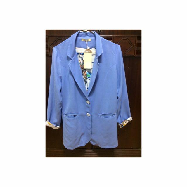 石英藍風衣外套