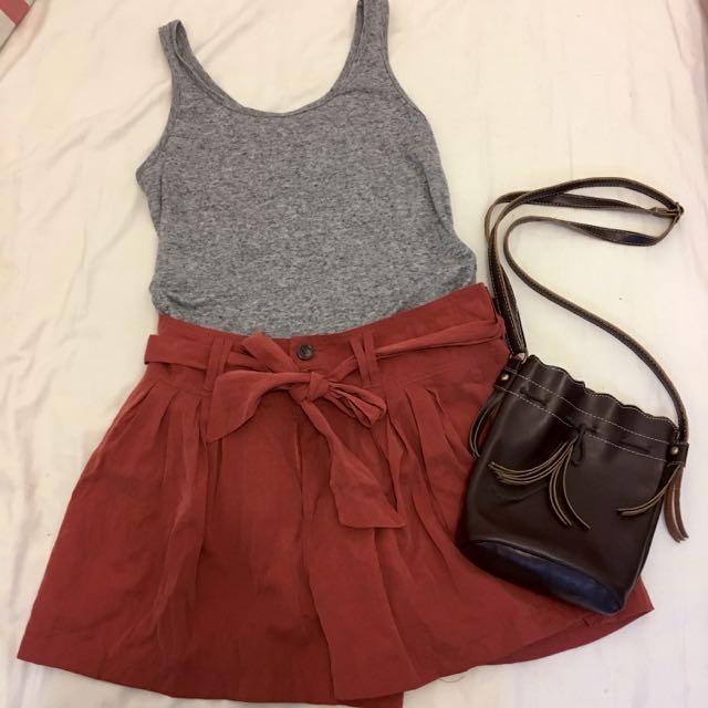 酒紅磚紅高腰褲裙