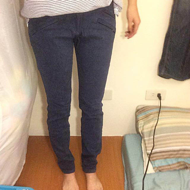 韓版長褲/藍色長褲/彈性長褲