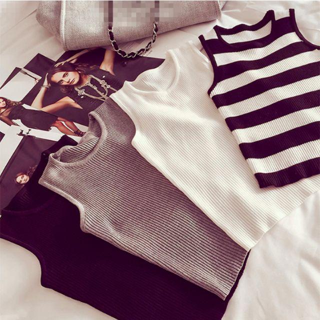 外搭內穿都性感無袖針織中高領短版露腰背心上衣,白 灰 黑 條紋【A18H05U1515】