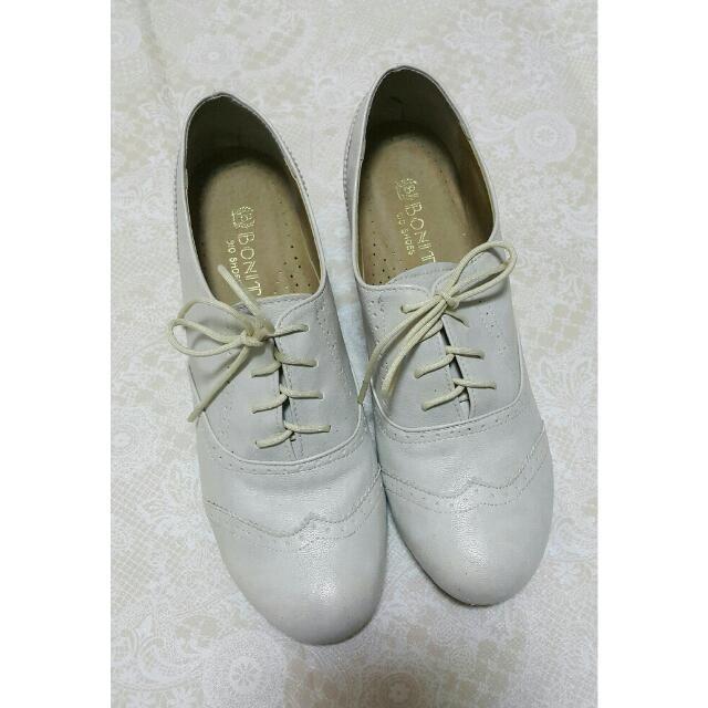 日本帶回 Bonita 淺米灰色 楔形內增高牛津鞋