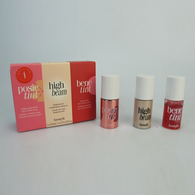 BENEFIT MINIS POSIE TINT HIGH BEAM BENETINT TRAVEL SIZE 3x4ml