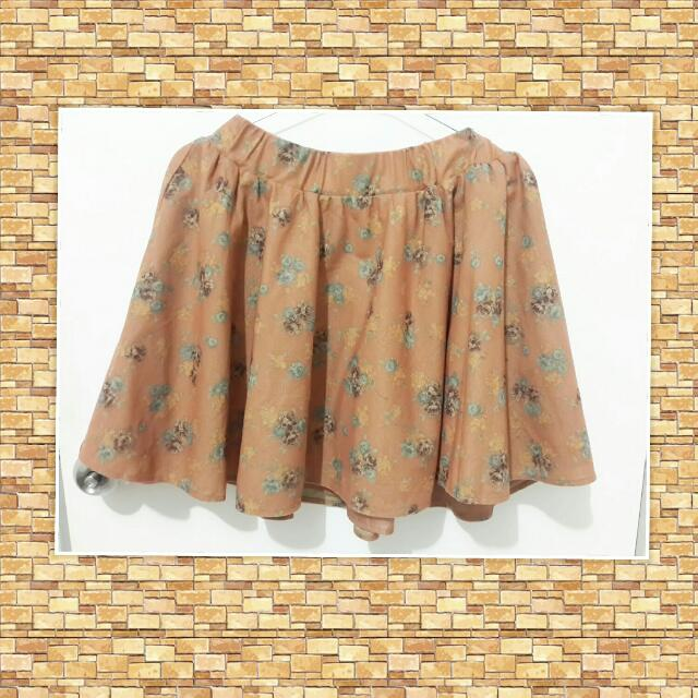 Brown Flower Skirt EW-010