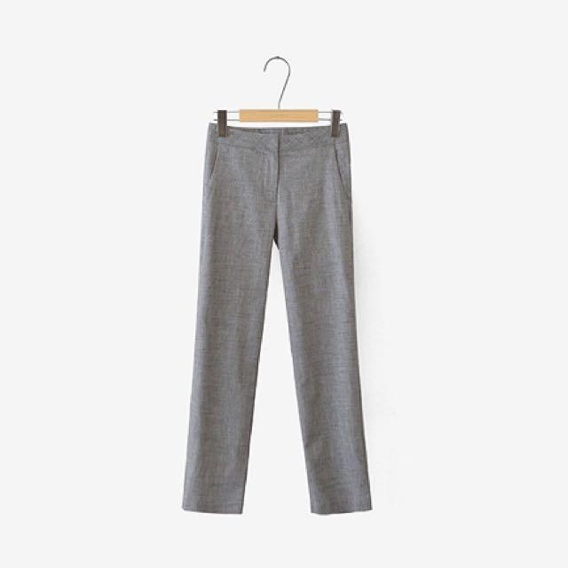 Cherrykoko 灰色棉麻直筒褲