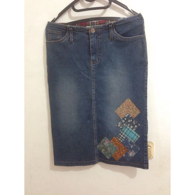 Denim Patch Skirt