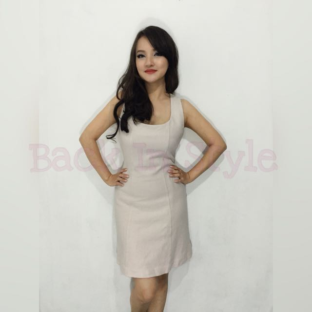 Dress Casual bodycon Warna Khaki/ Nude