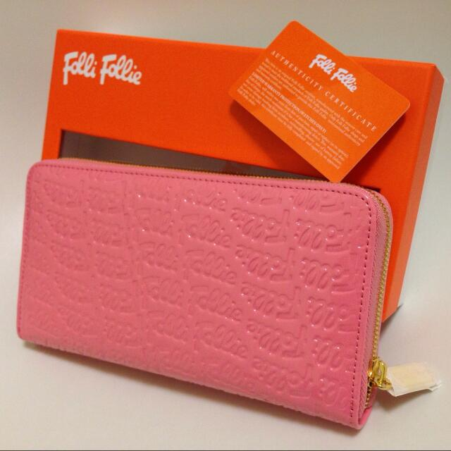 品名:folli follie全新粉色皮夾