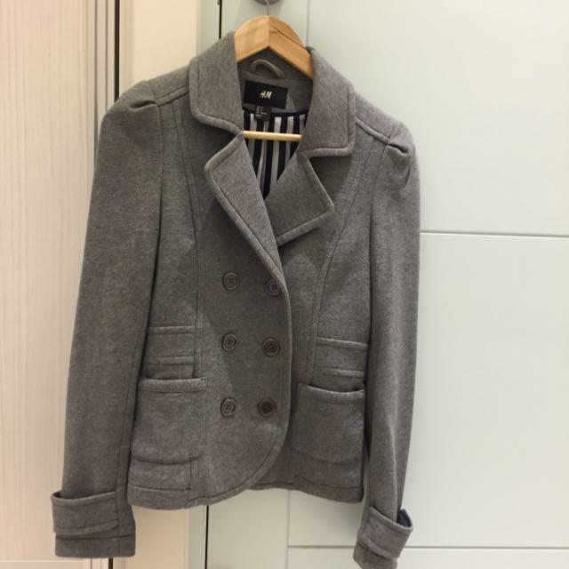 (已訂)香港H&M購入灰挺棉質外套