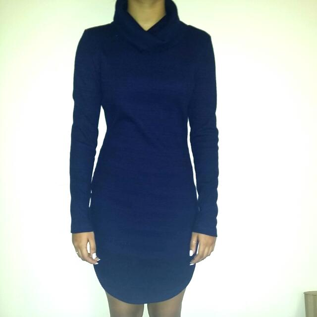 Knitted Turtleneck Longsleeve Navy Blue Dress
