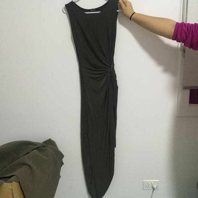 Long Khaki Dress With Knot On The Side