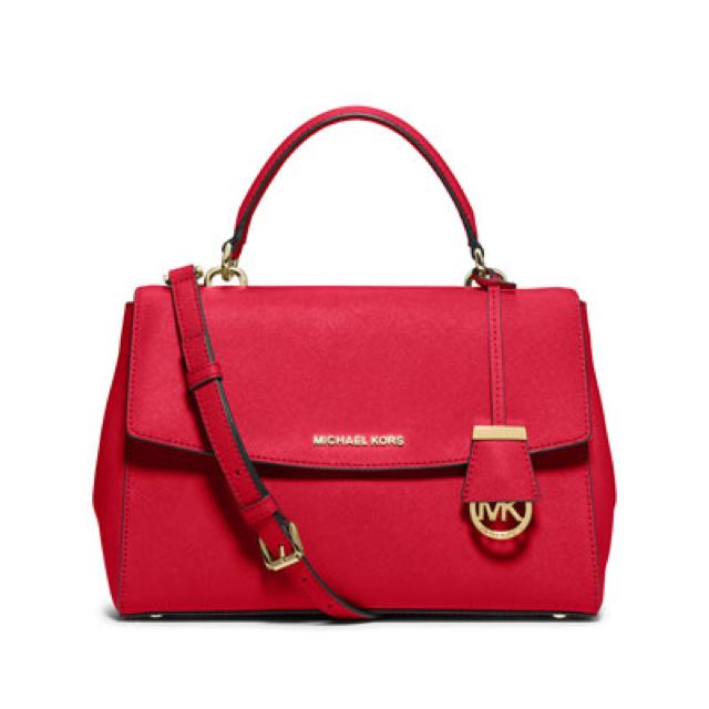 4df9b72ac7924 In Stock  Michael Kors AVA MEDIUM SAFFIANO LEATHER SATCHEL Chili red ...