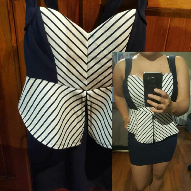 Navy Blue And Striped Dress - Nice Fit