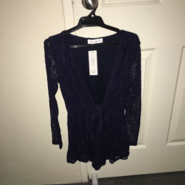 Navy Blue Laced Playsuit