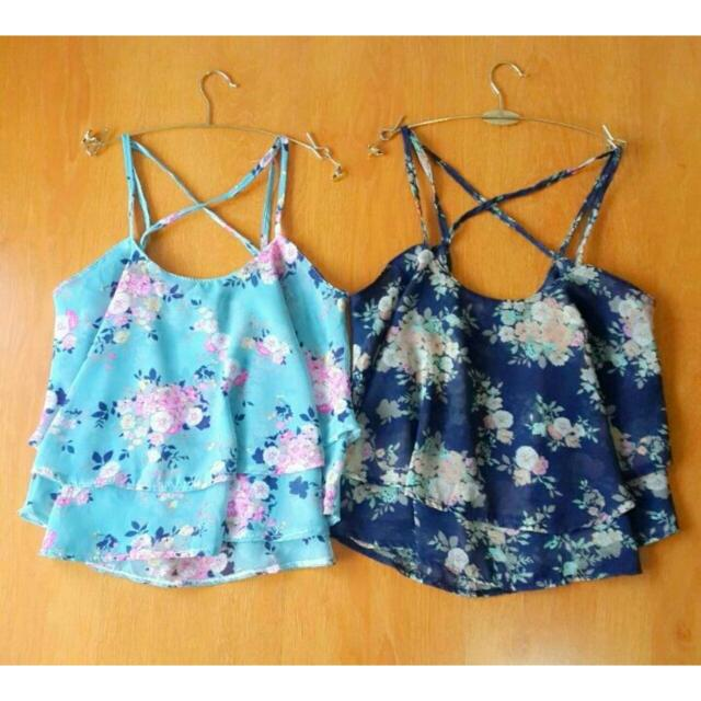 NEW Shabby Chic Flower Blue Tank Top IMPORT Baju BANGKOK