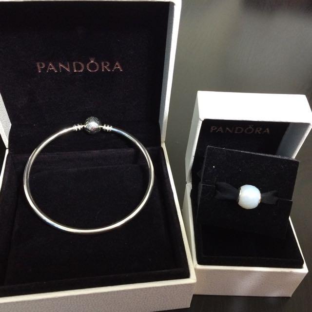 PANDORA 潘朵拉 手鍊手環珠珠 串珠 白色水晶