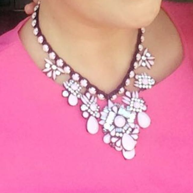 Pink Beaded And Crystal Necklace