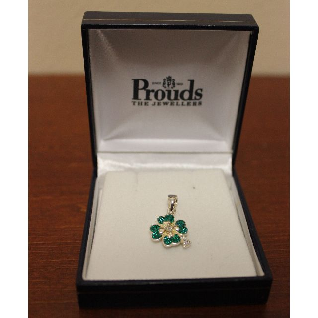 Prouds Sterling Silver Crystal Four Leaf Clover Pendant