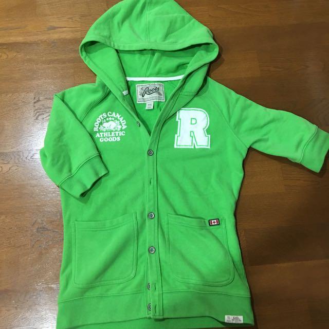 Roots綠色短袖運動外套🍀🍀🍀