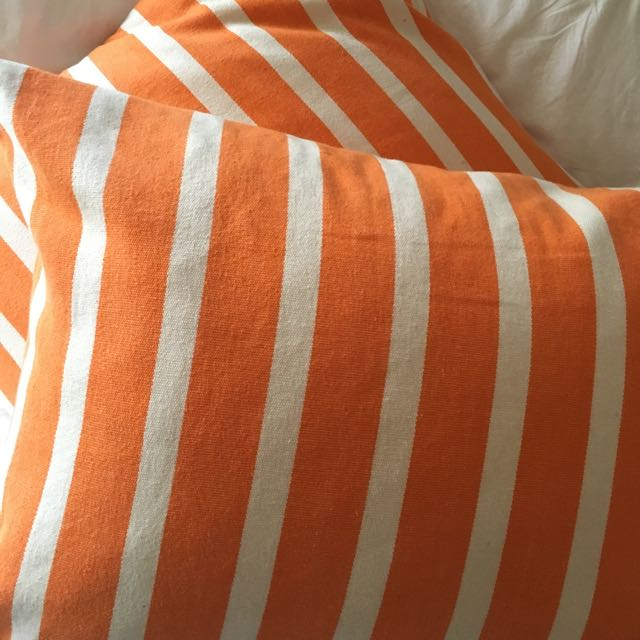 X2 Orange/white Stripe Eadie Cushions
