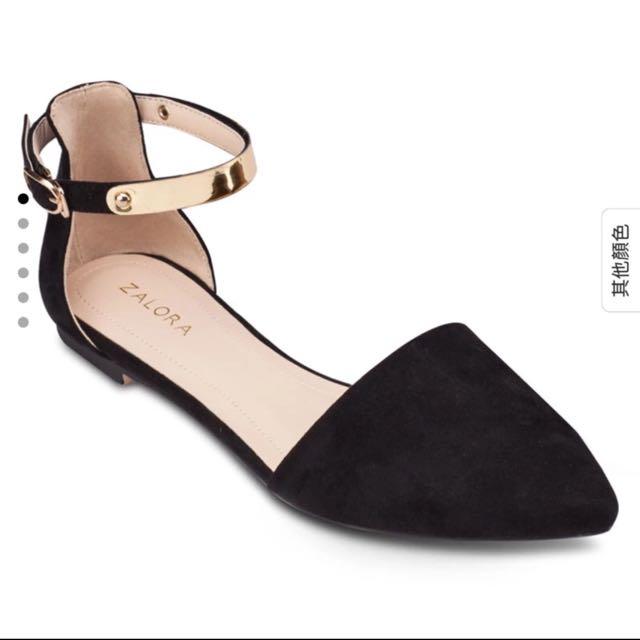 ZALORA金飾繞踝側空平底鞋