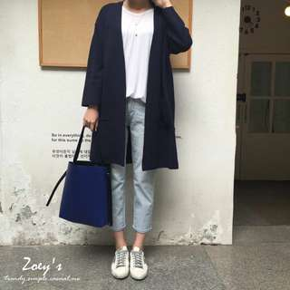 轉Zoey's [正韓] 配色皮革方包 黑/寶藍
