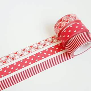 Set of 3 Red Heart Washi Tape Combo