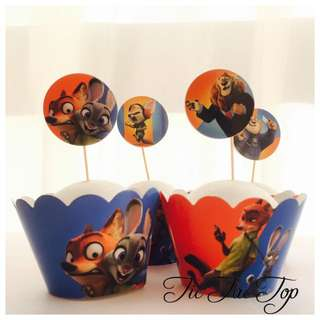 12pcs Zootopia Cupcake Wrappers + Toppers. Party Supplies