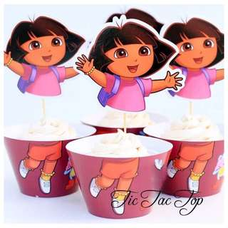 12pcs Dora The Explorer Cupcake Wrappers + Toppers. Party Supplies