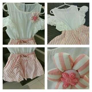 Sweet One-piece Girl's Drop-shoulders Dress