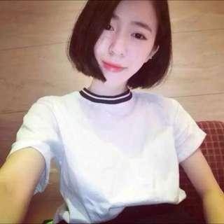 圓領白t恤
