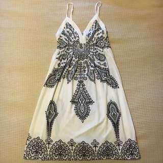 Ivory,patterned Dress