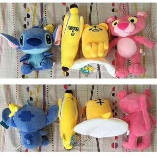 (全新)史迪奇、蛋黃哥、香蕉哥、頑皮豹 玩偶