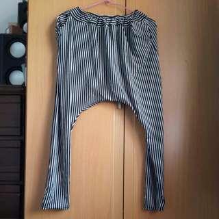 條紋 袋鼠褲