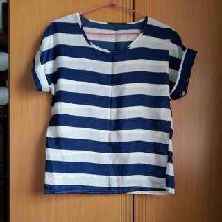 藍白條紋反摺袖罩衫