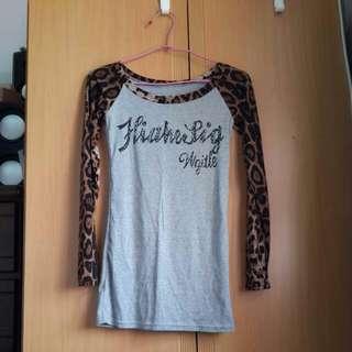 豹紋長袖t-shirt