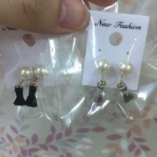 韓 珍珠流蘇夾式耳環