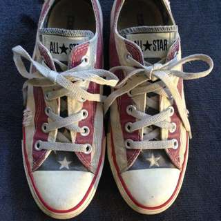 Converse All Star Low American Stars & Stripes distressed style